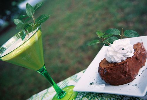 Chocolate Mint Cocktail And Cake