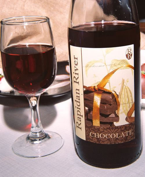 Chocolate wine in glass