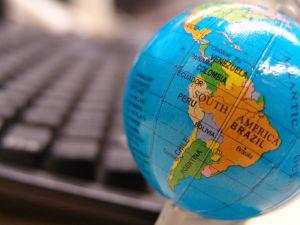 Desire post globe and keyboard