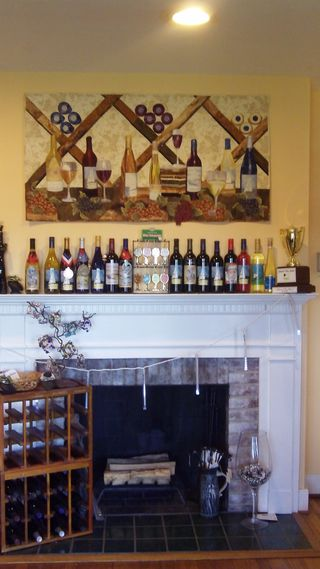 James River Cellars Winery Wines On Fireplace