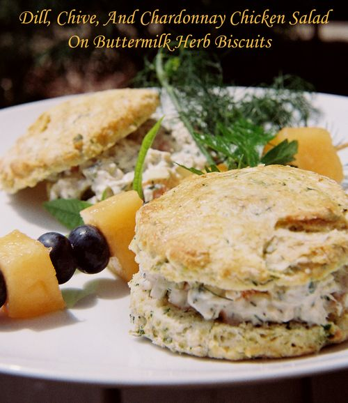 Dill Chive And Chardonnay Chicken Salad On Buttermilk Herb Biscuits 1 copy