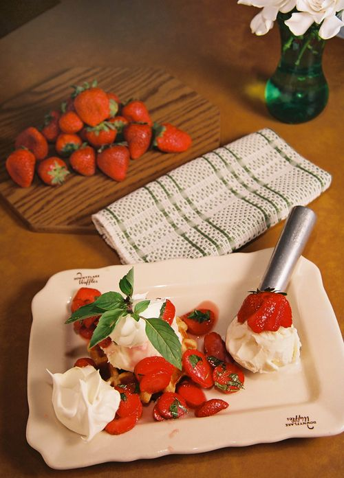 Cinnamon Basil Strawberry Shortcake On Vanilla Waffle 1