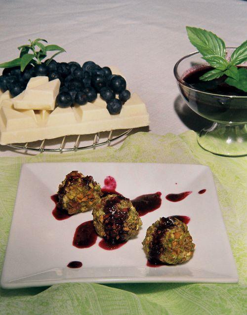 White Chocolate Lemon Verbena Truffles With Cinnamon Basil Blueberry Sauce 1