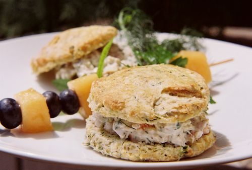 Dill Chive And Chardonnay Chicken Salad On Buttermilk Herb Biscuits 3