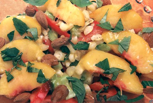 Roasted Corn Pepper Peach Salad With Cinn Basil Peach Vinaigrette 2
