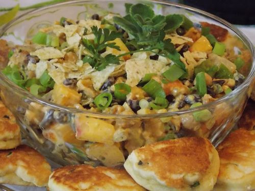 Mexican Peach Salad Southwestern Dressing On Chili Chive Corncakes 1