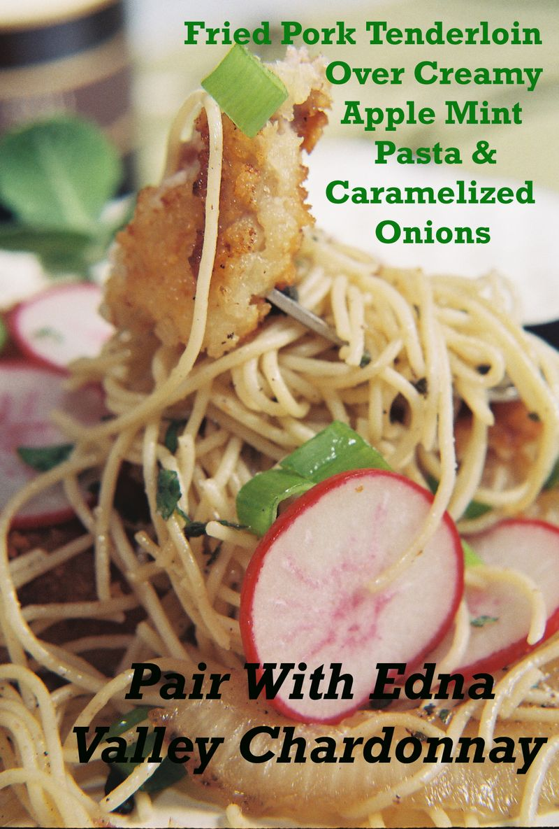 Fried pork tenderloin over creamy apple mint pasta and caramelized onions 2
