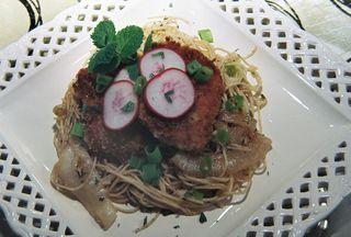 Fried pork tenderloin over creamy apple mint pasta and caramelized onions 3