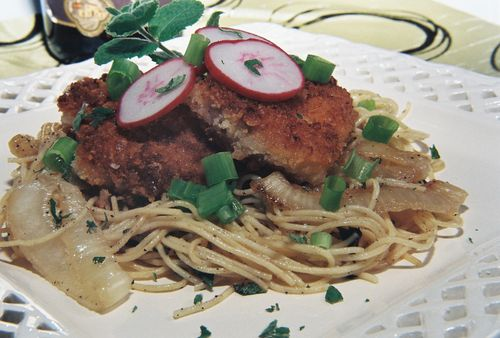 Fried pork tenderloin over creamy apple mint pasta and caramelized onions 1