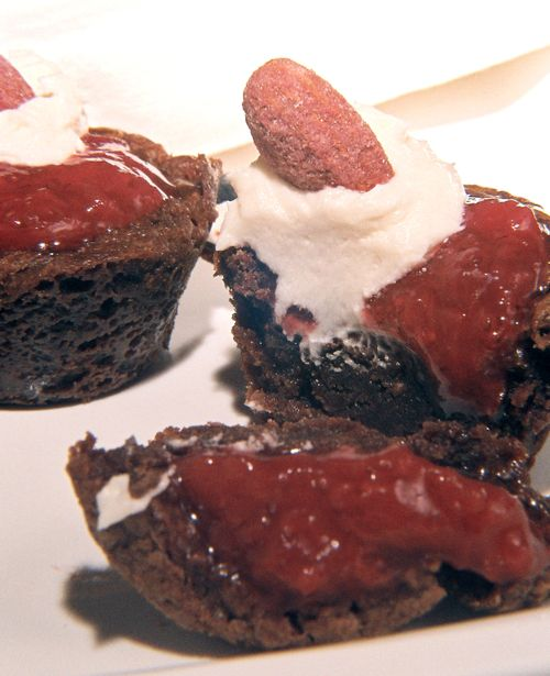 Strawberry Filled Rum And Rose Geranium Brownies With Strawberry Cream Liqueur Frosting 6