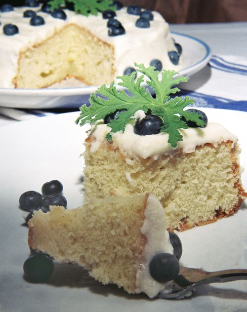 Rose Geranium Cake With Blueberry Coconut Frosting 9