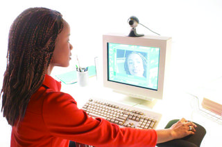 Af woman computer webcam copy