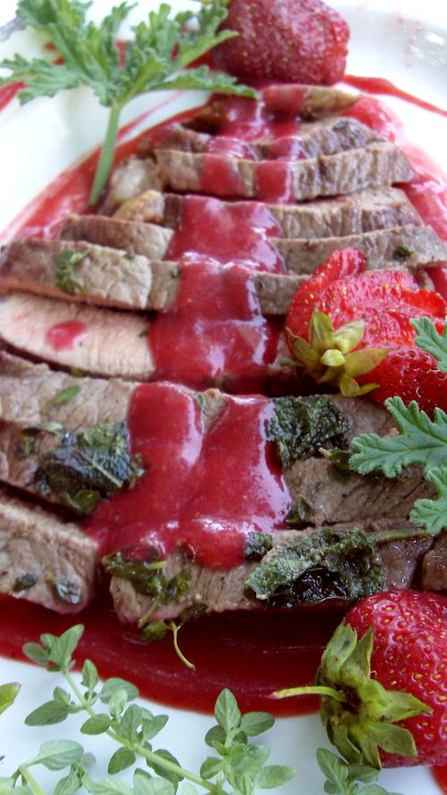 Sage thyme lamb with strawberry rose geranium sauce 4