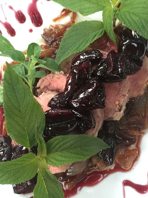 Pork Tenderloin With Bourbon Cherry Sauce And Violet Balsamic Onions 3 18.58.52