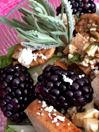 Blackberry Turkey Salad With Moonshine Lavender And Violet Balsamic Vinaigrette 4