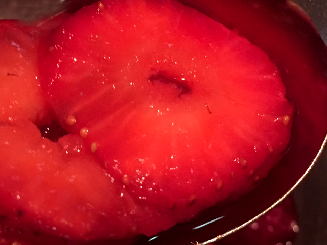 Strawberries closeup in midnight moonshine