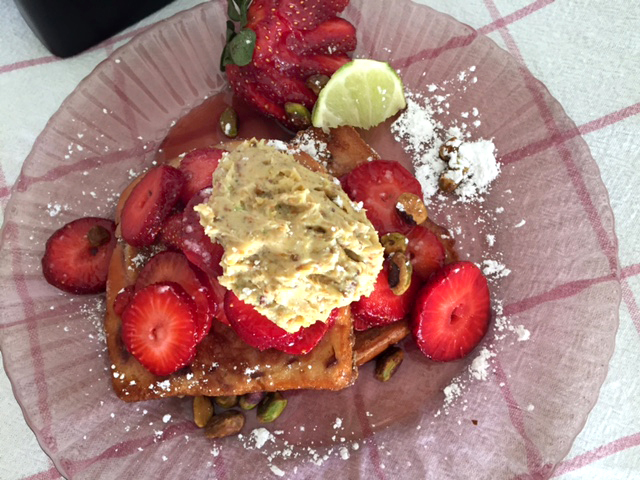 Strawberry moonshine french toast with pistachio lime cream 1