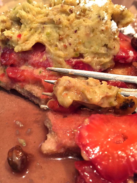 Strawberry moonshine french toast with pistachio lime cream eating
