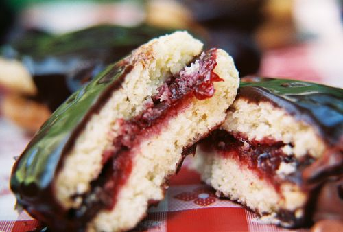 Chocolate coated sugar cookies with cherry sage filling 7