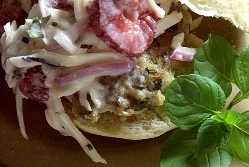 Citrus Pineapple Sage And Tequila Pork Burgers With Strawberry Basil Slaw 3