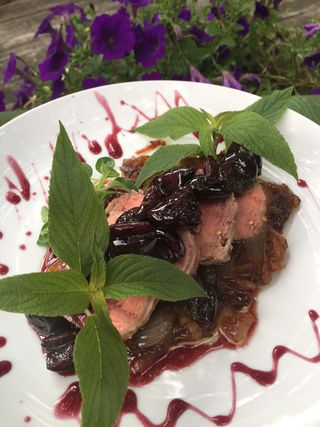 Pork Tenderloin With Bourbon Cherry Sauce And Violet Balsamic Onions 2 18.58.28