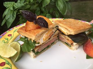 BBQ Pork And Peach Panini With Roasted Hatch Chili And Garlic Mayonnaise 6 19.23.40