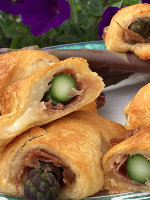 Purple asparagus and country ham crescent rolls 3