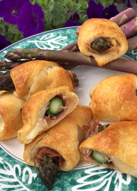 Purple asparagus and country ham crescent rolls 2