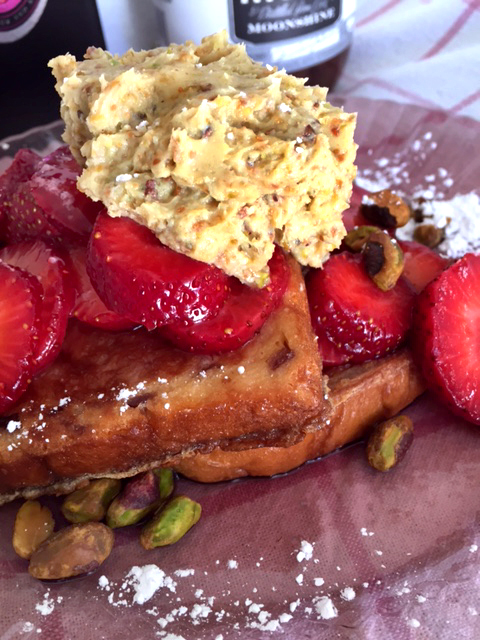 Strawberry moonshine french toast with pistachio lime cream 3