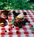 Chocolate coated sugar cookies with cherry sage filling 3