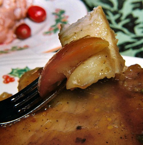 Ginger apple sage and cognac glazed pork chop 4