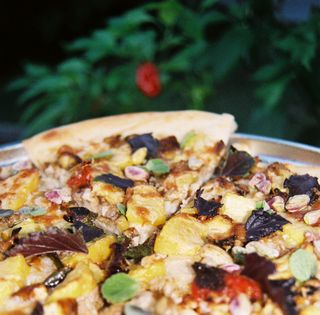 Peach chicken roasted chili and pistachio pizza 5