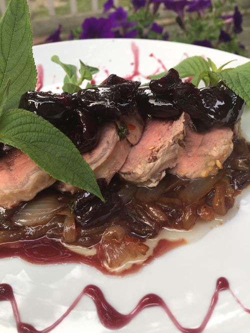 Pork Tenderloin With Bourbon Cherry Sauce And Violet Balsamic Onions 4 19.00.24