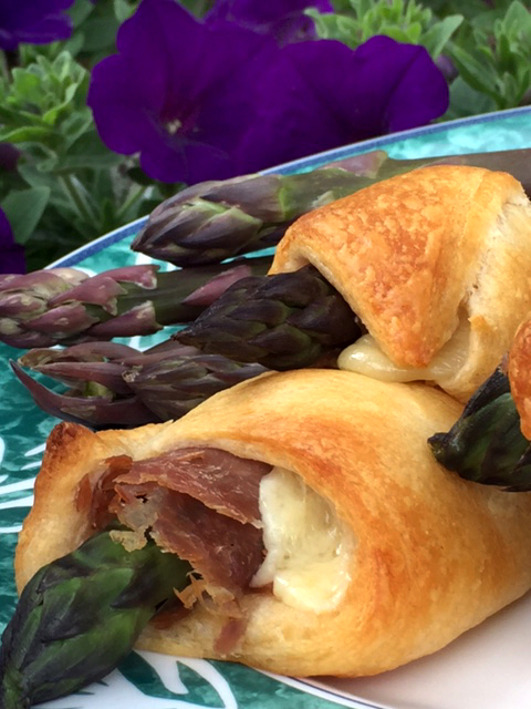 Purple asparagus and country ham crescent rolls 5