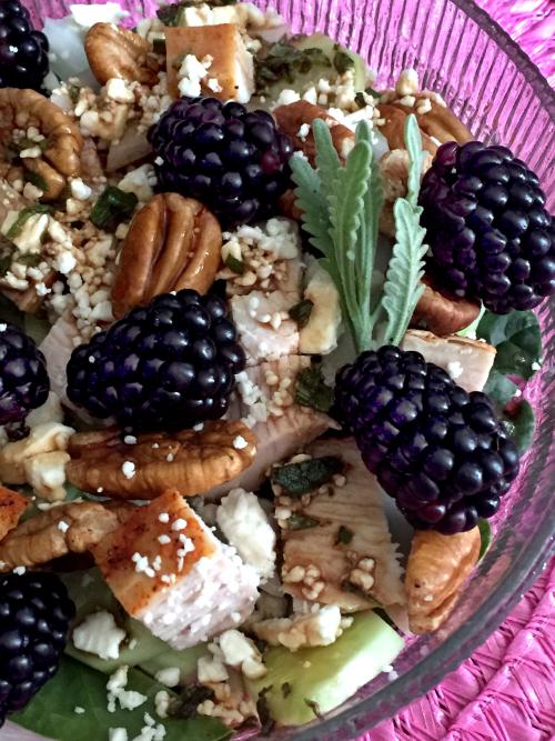 Blackberry Turkey Salad With Moonshine Lavender And Violet Balsamic Vinaigrette 2