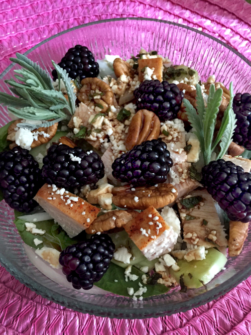 Blackberry Turkey Salad With Moonshine Lavender And Violet Balsamic Vinaigrette 1
