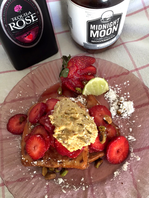Strawberry moonshine french toast with pistachio lime cream 2