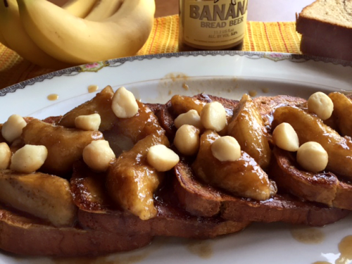 Chocolate Bananas Foster French Toast With Banana Bread Beer Syrup 4